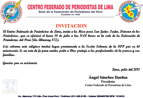 Invitacion Misa Por 61 Aniversario Fpp Agencia De Prensa